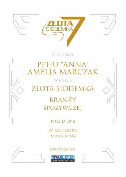 Dyplom zlota siodemka 2018